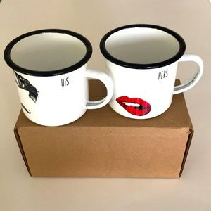His and Hers enamel mugs